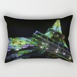 Eiffel Tower at Night with Coloured Lights Rectangular Pillow