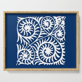 William de Morgan Abstract Fern, Cobalt Blue and White Serving Tray