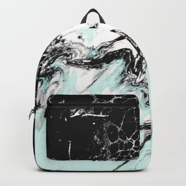 mint black and white marble Backpack