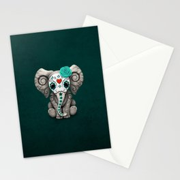 Teal Blue Day of the Dead Sugar Skull Baby Elephant Stationery Cards