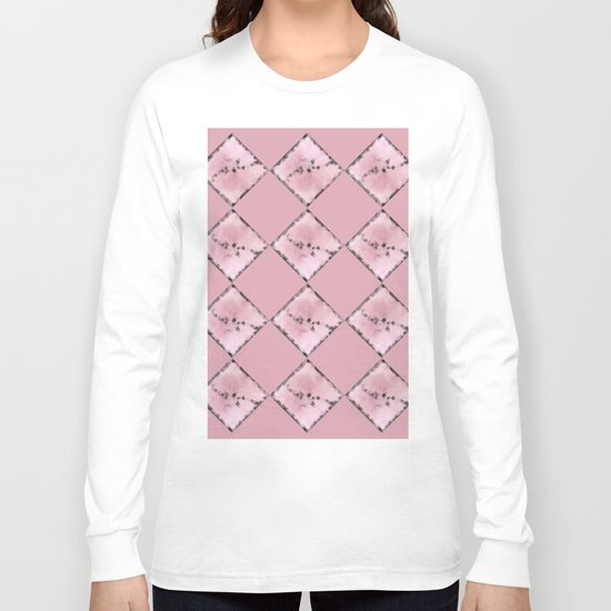 PINK SQUARE PATTERN #1 #decor #art #society6 Long Sleeve T-shirt