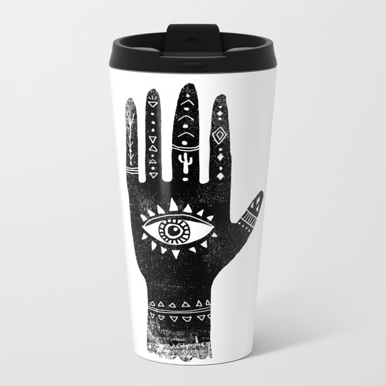 Hand with eye linocut black and white minimal boho third eye hamsa Metal Travel Mug