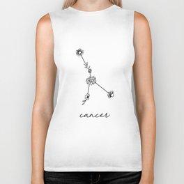 Cancer Floral Zodiac Constellation Biker Tank
