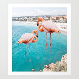 Flamingo on City Beach #animal #society6 #beach Art Print