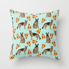 German Shepherd pizza party dog person gifts pet portraits dog breeds cheesy pizzas Throw Pillow