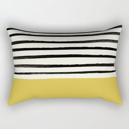 Mustard Yellow & Stripes Rectangular Pillow