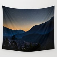 starry night Wall Tapestries featuring Starry Starry Night by Baik to Basics