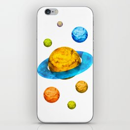 Colorful watercolor hand drawn planet. iPhone Skin
