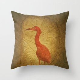 Red Heron Throw Pillow