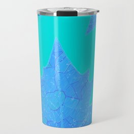 Sycamore Stained Glass Tiffany style design Ice leaf on turquoise Travel Mug