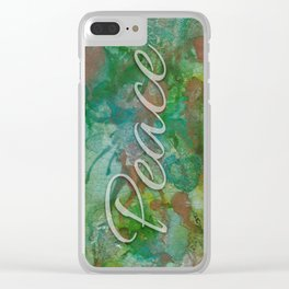 Peace In Cool Green Clear iPhone Case
