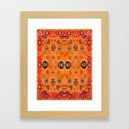 Orange Bohemian Oriental Traditional Moroccan Artwork Framed Art Print