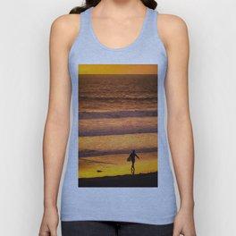 Surfer walking along beach at sunset Unisex Tank Top