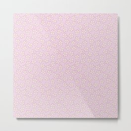 Small Flowers in Cream on Pink Metal Print