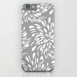 DAHLIA FLOWER TEAR DROPS AND RAIN DROPS SWIRLS GRAY AND WHITE iPhone Case