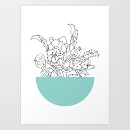 VESSEL - Floral Ink in Mint Green - Cooper and Colleen Art Print