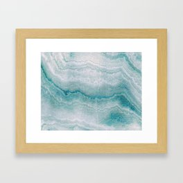 Sea green marble texture Framed Art Print
