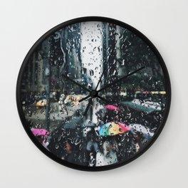 New York City in the Rain Wall Clock