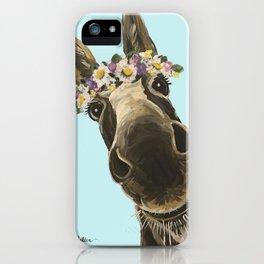 Blue Flower Crown Donkey, Donkey Art iPhone Case