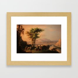 Manuel Barron y Carrillo, (1814 – 1884), Landscape of Ronda with Bandits Framed Art Print
