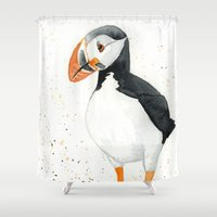 puffin Shower Curtains featuring Puffin by Priscilla George