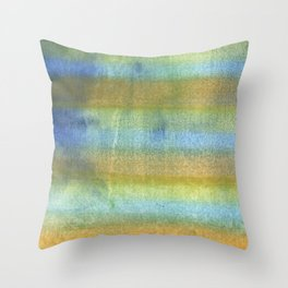 Yellow blue abstract rainbow painting Throw Pillow