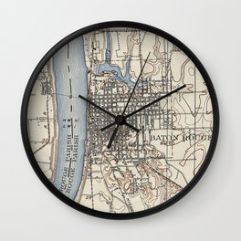 Vintage Map of Baton Rouge Louisiana (1906) Wall Clock