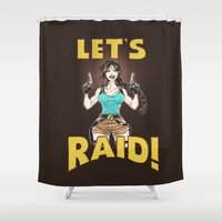 tomb raider Shower Curtains featuring Let's Raid! by CaptainSunshine