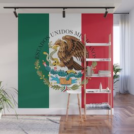 Mexican flag (augmented scale) with Coat of Arms (overlaid) Wall Mural
