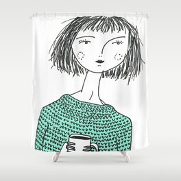 Coffee and Sweaters Shower Curtain