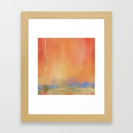 Abstract Landscape With Golden Lines Painting Framed Art Print