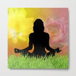Meditation in Grass Lotus Flower Sky Metal Print