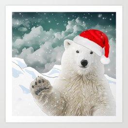 Santa Polar Bear Art Print