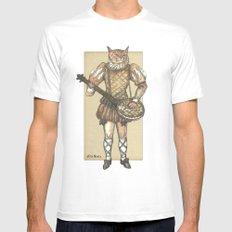 Banjo Cat MEDIUM White Mens Fitted Tee