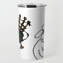 Funny Sheep Playing Bagpipes Original Artwrk Travel Mug