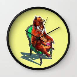 animals in chairs #20 The Bear at Tea Wall Clock
