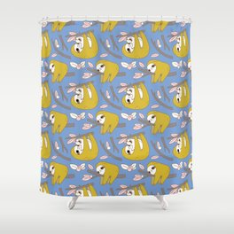 Sloth pattern in blue Shower Curtain