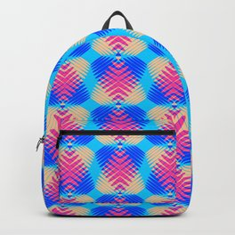 Pattern of blue hearts from the sky stripes on a yellow background in a bright intersection. Backpack