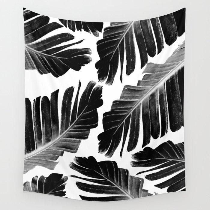 Tropical Black Banana Leaves Dream #1 #decor #art #society6 Wall Tapestry