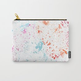 Hand painted pink teal orange watercolor paint splatters Carry-All Pouch