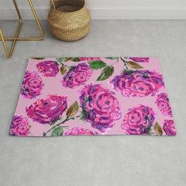 Purple Roses Floral Pattern Rug