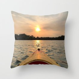 Paddle Into the Sunset Throw Pillow