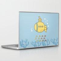 yellow submarine Laptop & iPad Skins featuring Yellow Submarine by Brenda Figueroa Illustration