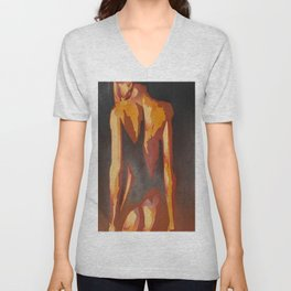 Beautiful Young Woman Wearing Plaits and Panties (Neutral) Unisex V-Neck