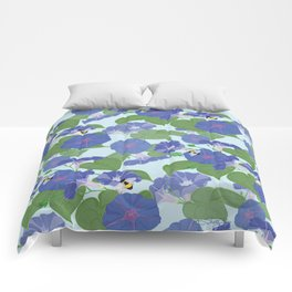 Glory Bee - Vintage Floral Morning Glories and Bumble Bees Comforters