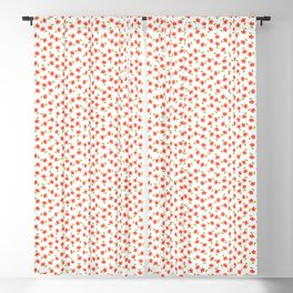 Ditsy Floral - Coral and Green on White Blackout Curtain