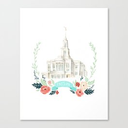 LDS Payson Temple Watercolor painting with flower wreath  Canvas Print