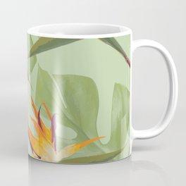 Three Paradise Flowers with Monstera Leaf Coffee Mug
