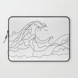 Minimal Line Art Ocean Waves Laptop Sleeve