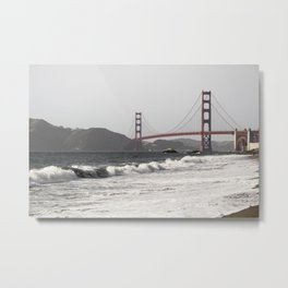 Beach by the Golden Gate Bridge Metal Print